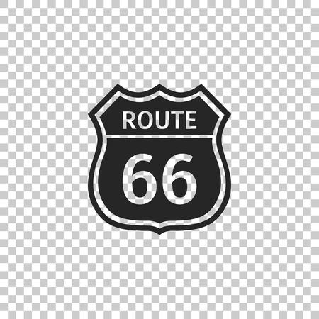 Icono de carretera americana aislado sobre fondo transparente. Ruta sesenta y seis señal de tráfico. Diseño plano. Ilustración vectorial Ilustración de vector