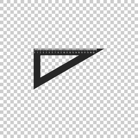 Triangular ruler icon isolated on transparent background. Straightedge symbol. Geometric symbol. Flat design. Vector Illustration