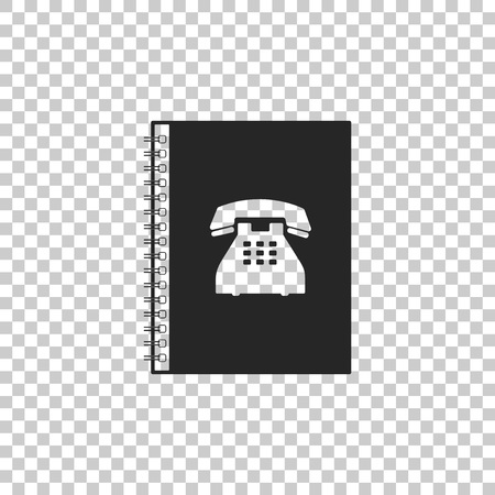 Phone book icon isolated on transparent background. Address book. Telephone directory. Flat design. Vector Illustration