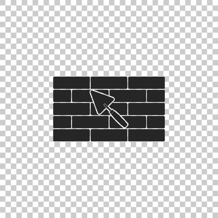 Brick wall with trowel icon isolated on transparent background. Flat design. Vector Illustration Illustration