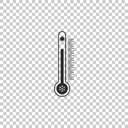 Thermometer with scale measuring heat and cold, with sun and snowflake icon isolated on transparent background. Flat design. Vector Illustration Illustration