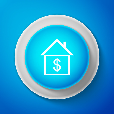House with dollar icon isolated on blue background. Home and money. Real estate concept. Circle blue button. Vector Illustration