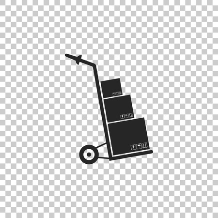 Hand truck and boxes icon isolated on transparent background. Dolly symbol. Flat design. Vector Illustration