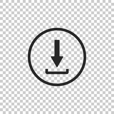 Download icon isolated on transparent background. Upload button. Load symbol. Arrow point to down. Flat design. Vector Illustration Иллюстрация