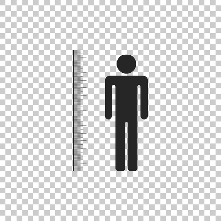 Measuring height body icon isolated on transparent background. Flat design. Vector Illustration