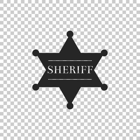 Hexagonal sheriff star icon isolated on transparent background. Sheriff badge symbol. Flat design. Vector Illustration Illustration