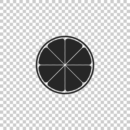Orange in a cut. Citrus fruit icon isolated on transparent background. Healthy lifestyle. Flat design. Vector Illustration