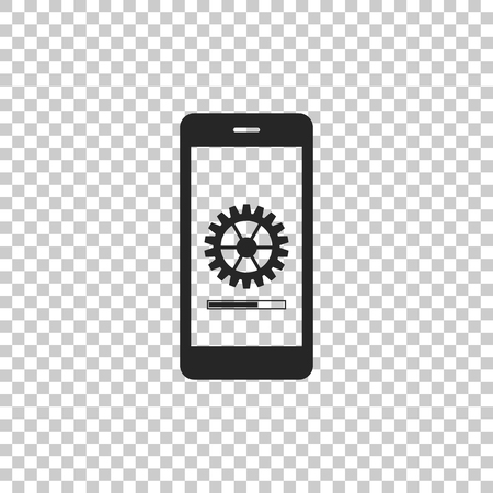 Smartphone update process with gearbox progress and loading bar icon isolated on transparent background. System software update and upgrade concept. Loading process in mobile screen. Vector Illustration