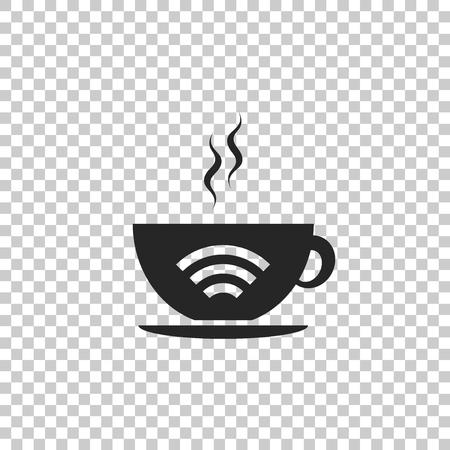 Taza de cafetería con icono de zona wifi gratis aislado sobre fondo transparente. Cartel de conexión a Internet. Diseño plano. Ilustración vectorial