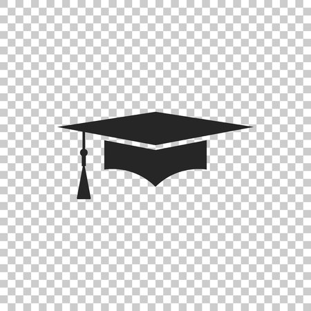Graduation cap icon isolated on transparent background. Graduation hat with tassel icon. Flat design. Vector Illustration