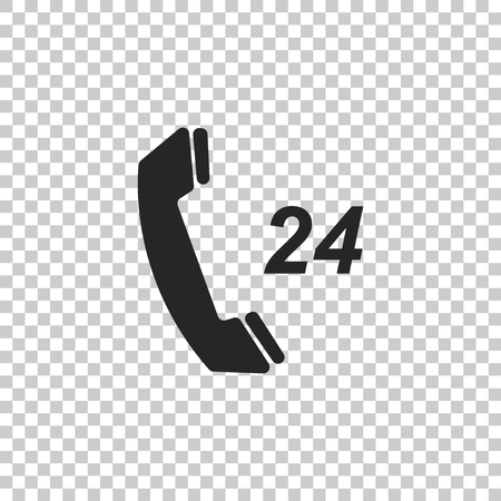 Telephone 24 hours support icon isolated on transparent background. All-day customer support call-center. Flat design. Vector Illustration