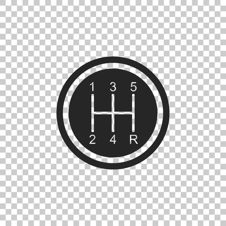 Gear shifter icon isolated on transparent background. Transmission icon. Flat design. Vector Illustration