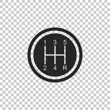 Schalthebel-Symbol auf transparentem Hintergrund isoliert. Übertragungssymbol. Flaches Design. Vektorillustration