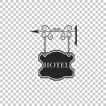 Vintage signboard outdoor advertising with text Hotel icon isolated on transparent background. Flat design. Vector Illustration