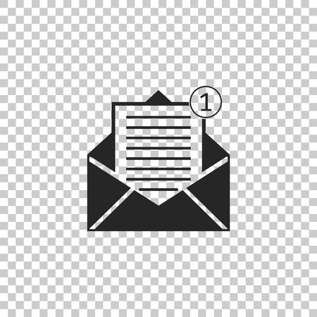 Received message concept. Envelope icon isolated on transparent background. New, email incoming message, sms. Mail delivery service. Flat design. Vector Illustration