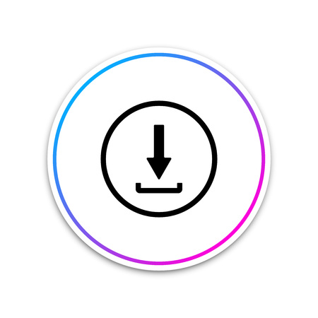 Download icon isolated on white background. Upload button. Load symbol. Arrow point to down. Circle white button. Vector Illustration Ilustrace
