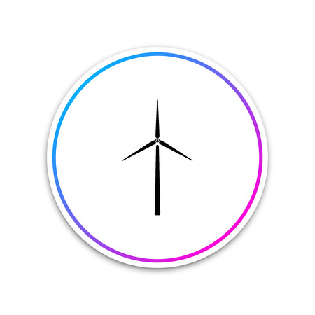 Wind turbine icon isolated on white background. Wind generator sign. Windmill silhouette. Windmills for electric power production. Circle white button. Vector Illustration