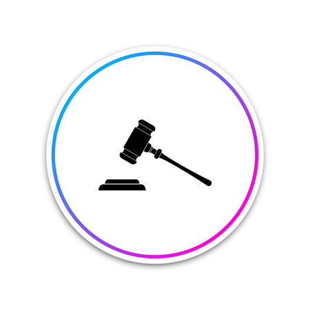 Judge gavel icon isolated on white background. Gavel for adjudication of sentences and bills, court, justice, with a stand. Auction hammer symbol. Circle white button. Vector Illustration Ilustração