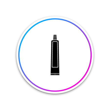 Tube of toothpaste icon isolated on white background. Circle white button. Vector Illustration Иллюстрация