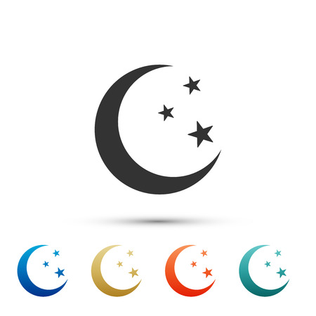 Moon and stars icon isolated on white background. Set elements in color icons. Vector Illustration
