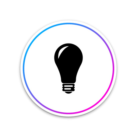 Light bulb icon isolated on white background. Energy and idea symbol. Lamp electric. Circle white button. Vector Illustration