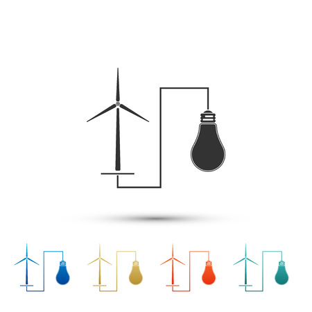 Wind mill turbine generating power energy and light bulb icon on white background. Alternative natural renewable energy production using wind mills. Set elements in color icons. Vector Illustration