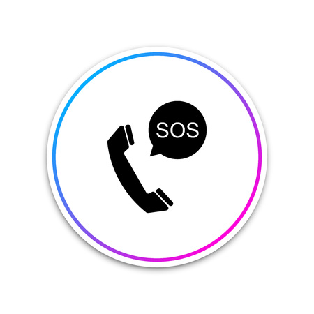 SOS call icon isolated on white background. 911, emergency, help, warning, alarm. Circle white button. Vector Illustration Illustration