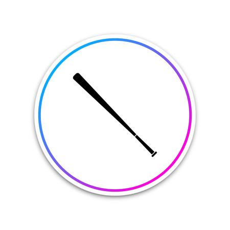 Baseball bat icon isolated on white background. Circle white button. Vector Illustration Ilustracja