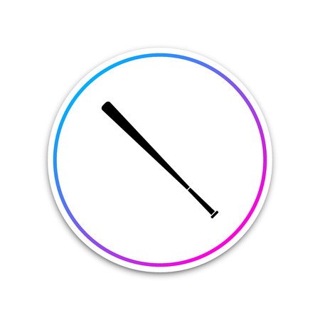Baseball bat icon isolated on white background. Circle white button. Vector Illustration 일러스트