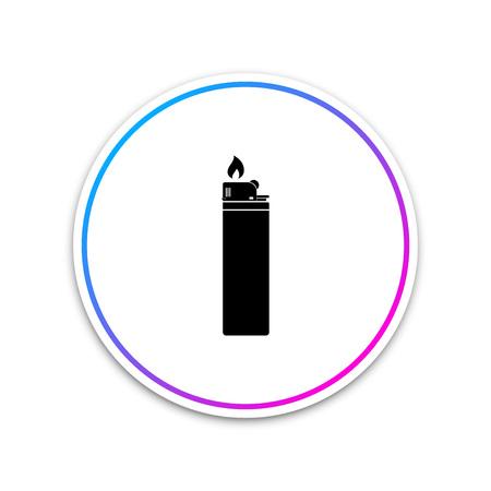 Icône de briquet isolé sur fond blanc. Bouton cercle blanc. Illustration vectorielle Vecteurs