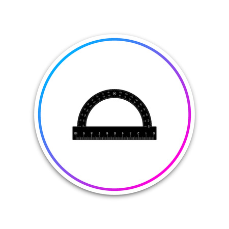 Protractor grid for measuring degrees icon isolated on white background. Tilt angle meter. Measuring tool. Geometric symbol. Circle white button. Vector Illustration Illustration