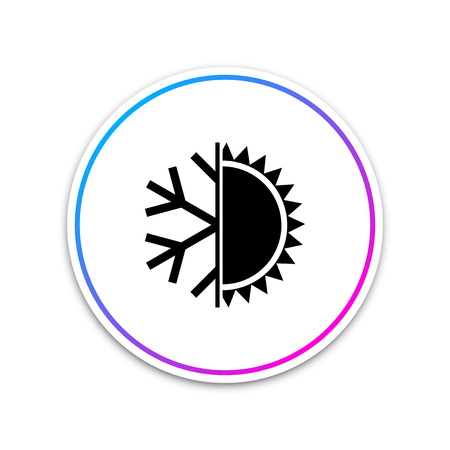 Hot and cold symbol. Sun and snowflake icon isolated on white background. Winter and summer symbol. Circle white button. Vector Illustration Ilustração