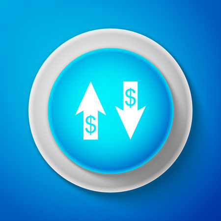 Up and Down arrows with dollar symbol icon isolated on blue background. Business concept. Circle blue button. Vector Illustration