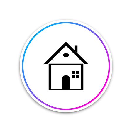 House icon isolated on white background. Home symbol. Circle white button. Vector Illustration