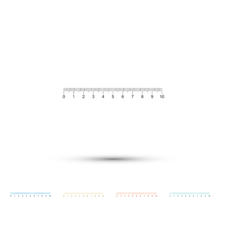 Measuring scale, markup for rulers icon isolated on white background. Size indicators. Different unit distances. Set elements in color icons. Vector Illustration Ilustração