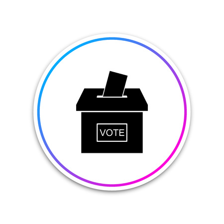 Vote box or ballot box with envelope icon isolated on white background. Circle white button. Vector Illustration Banque d'images - 124993511