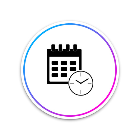 Calendar and clock icon isolated on white background. Schedule, appointment, organizer, timesheet, time management, important date. Date and time sign. Circle white button. Vector Illustration