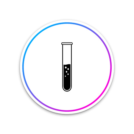Test tube and flask - chemical laboratory test icon isolated on white background. Circle white button. Vector Illustration