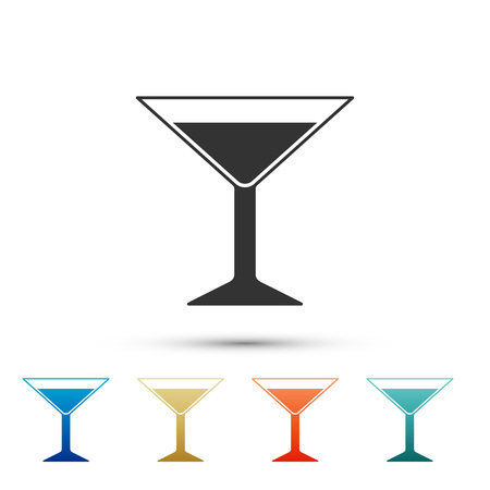 Martini glass icon isolated on white background. Cocktail icon. Wine glass icon. Set elements in color icons. Vector Illustration