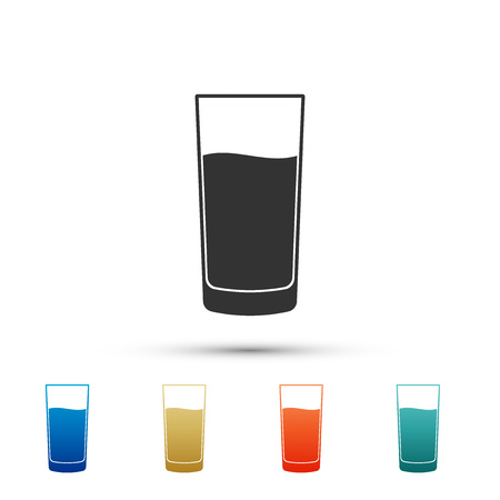 Glass with water icon isolated on white background. Soda glass. Set elements in color icons. Vector Illustration