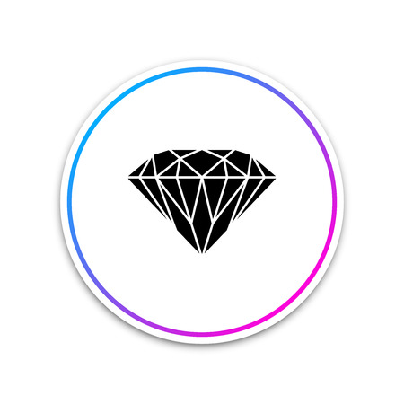 Diamond sign isolated on white background. Jewelry symbol. Gem stone. Circle white button. Vector Illustration