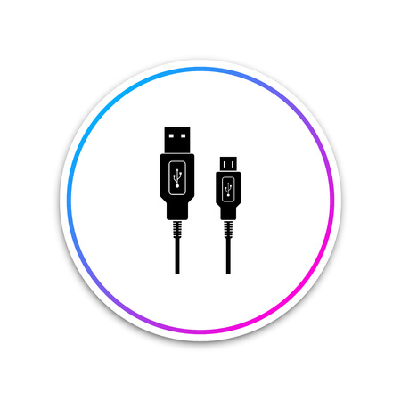 USB Micro cables icon on white background. Connectors and sockets for PC and mobile devices. Computer peripherals connector or smartphone recharge supply. Circle white button. Vector Illustration