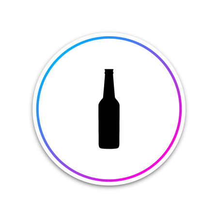 Beer bottle icon isolated on white background. Circle white button. Vector Illustration