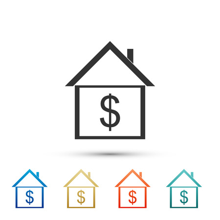 House with dollar icon isolated on white background. Home and money. Real estate concept. Set elements in color icons. Vector Illustration Illustration