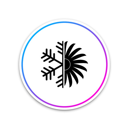 Air conditioner icon isolated on white background. Circle white button. Vector Illustration