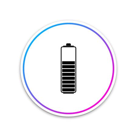 Battery charge level indicator icon isolated on white background. Circle white button. Vector Illustration Illustration