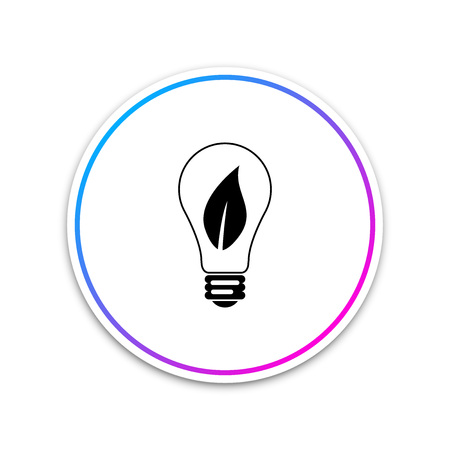 Light bulb with leaf icon isolated on white background. Eco energy concept. Circle white button. Vector Illustration Ilustração