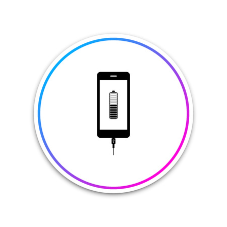 Smartphone battery charge icon isolated on white background. Phone with a low battery charge and with USB connection. Circle white button. Vector Illustration Illustration