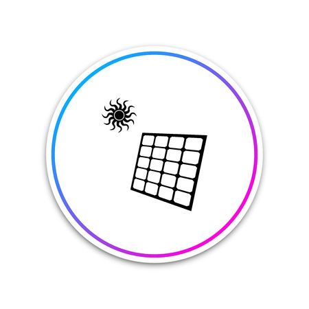 Solar energy panel icon isolated on white background. Circle white button. Vector Illustration Illustration