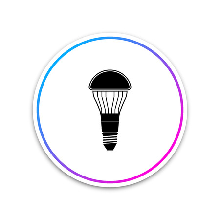 LED light bulb icon isolated on white background. Economical LED illuminated lightbulb. Save energy lamp. Circle white button. Vector Illustration Ilustração